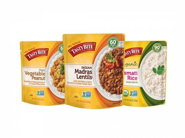 all natural tasty bite packaging for indian madras lentils, basmati rice and thai vegetable peanut