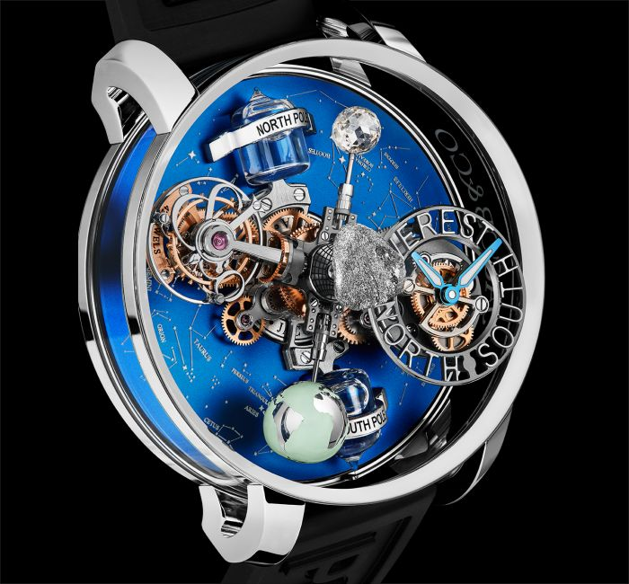 a watch with a blue ball