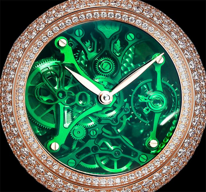 a close up of a clock