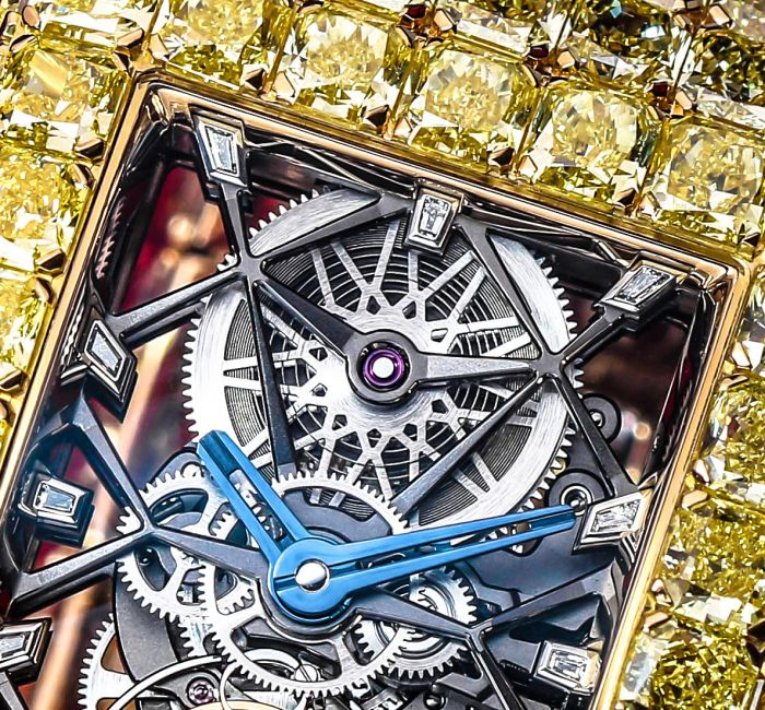 The Millionaire Yellow Diamonds Skeletonized Caliber