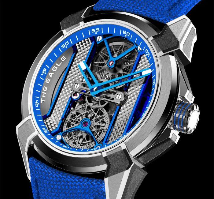 a blue watch on a bicycle