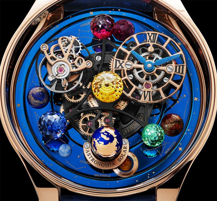 a gold and blue clock