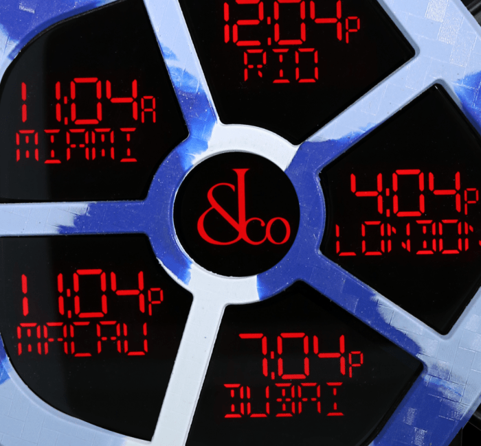 a clock is shown at the time
