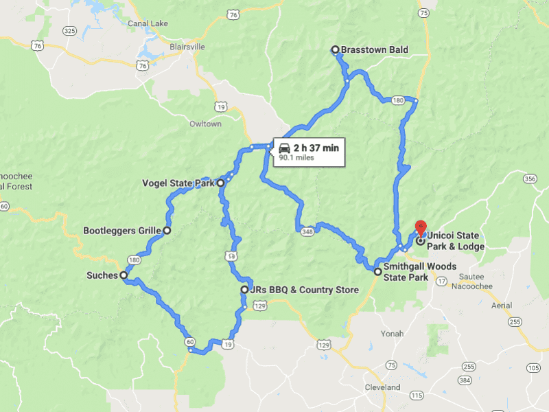 Tour de North Georgia Route Map Drives