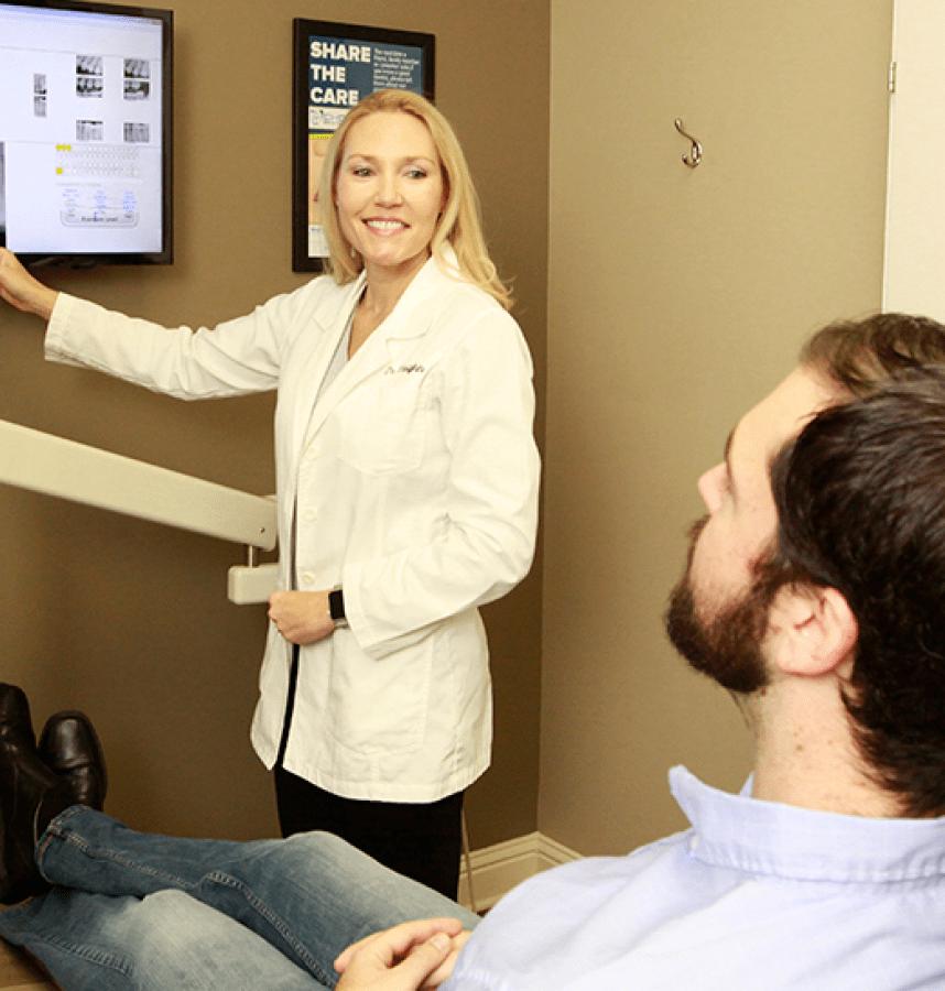 Dr. Vaughn with patient