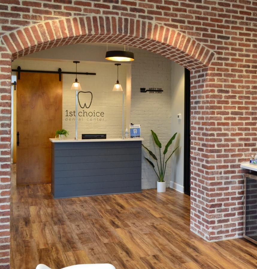 interior dental office with brick wall