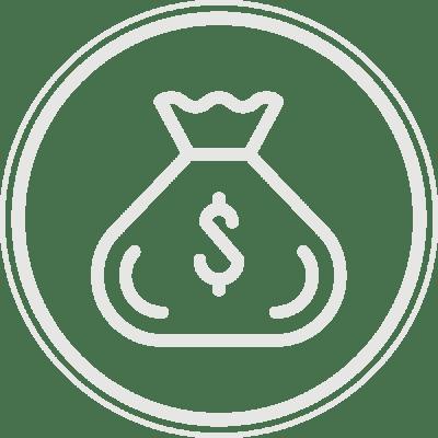 a close up of a money bag logo