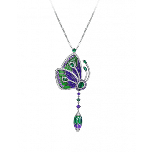 PAPILLON NECKLACE WITH PURPLE CATHEDRAL ENAMEL WINGS