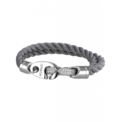 Perfect Fit Bracelet Double Strap White Gold with White Diamonds on Braided Charcoal Rope