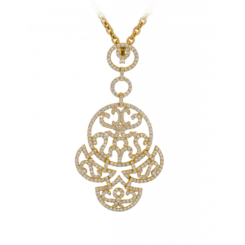 Lace Yellow Gold Diamond Lace Pendant