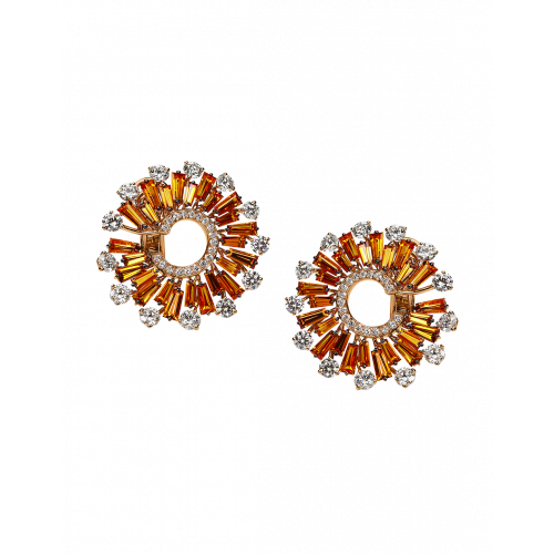 Orange Sapphires and Round Cut Diamonds Earrings