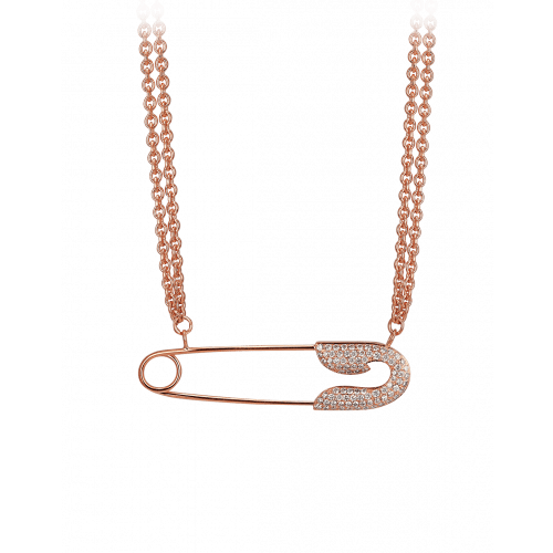 Large Rose Gold Safety Pin Necklace