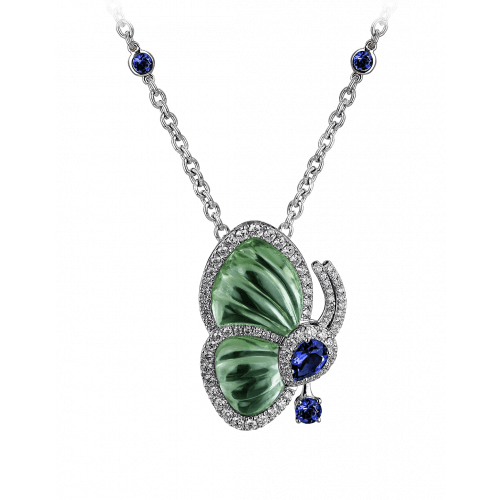 Papillon Necklace with Prasiolite
