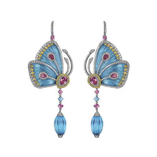 Blue Cathedral Papillon Earrings Large