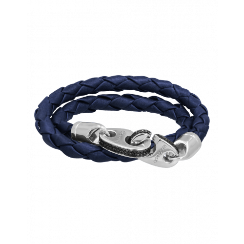 Perfect Fit Bracelet Double Strap White Gold with Black Diamonds on Braided Navy Blue Leather