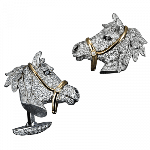 Two-Tone Gold Pave Horse Head Cufflinks