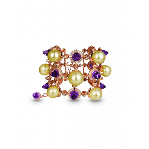 La Pearlina Golden Pearl and Amethyst Bracelet