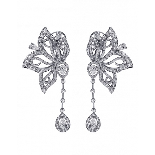 White Diamond Papillon Earrings