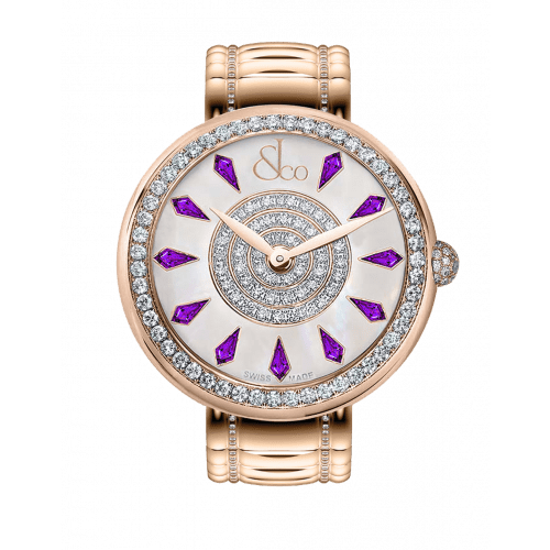 Brilliant One Row Rose Gold Couture Amethyst Sapphires 38mm