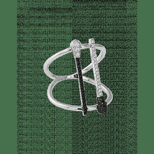 Black and White Diamond Match Ring
