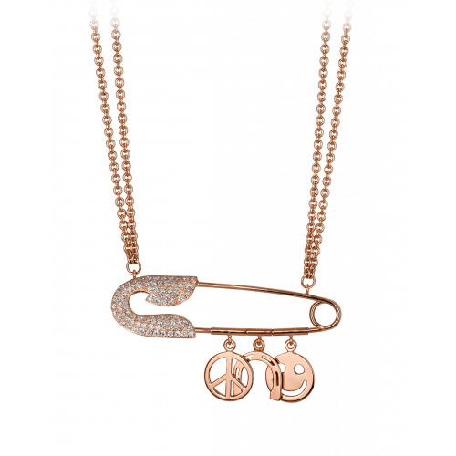 Large Rose Gold Safety Pin Necklace with Charms