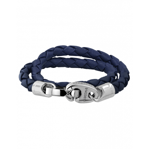 Perfect Fit Bracelet Double Strap White Gold with Braided Blue Leather