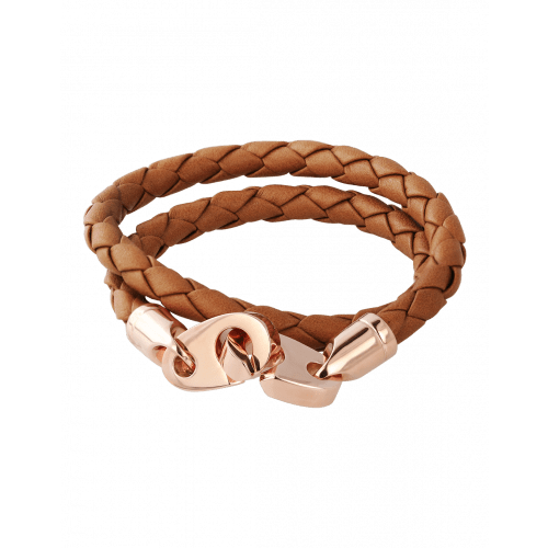 Perfect Fit Bracelet Double Strap Rose Gold Baked Brown Leather