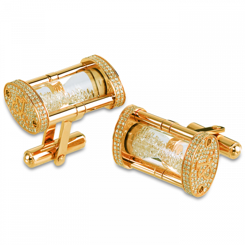 Yellow Gold Pave Hour Glass Cufflinks