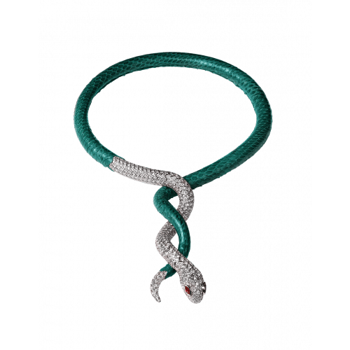 Cerastes White Gold Green Leather Necklace