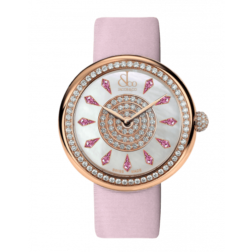 Brilliant One Row Rose Gold Pink Sapphires 38mm