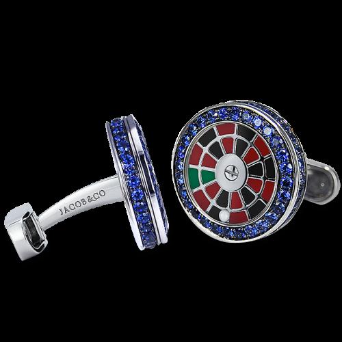 Sapphire Roulette Wheel Cufflinks