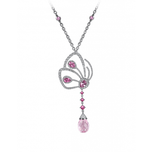 Papillon Necklace with Pink Tourmaline