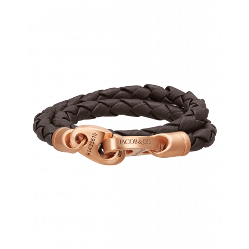 Perfect Fit Bracelet Double Strap Rose Gold Dark Brown Leather Matte Finish