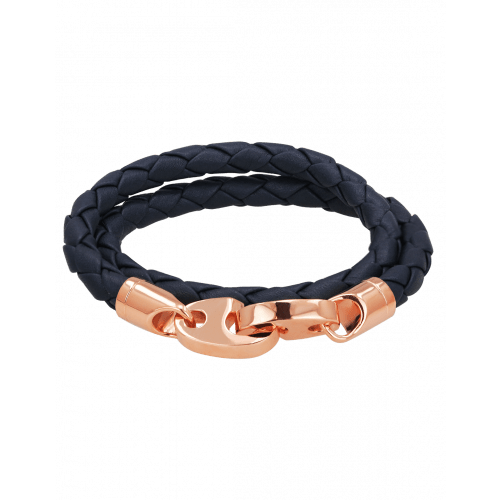 Perfect Fit Bracelet Double Strap Rose Gold Navy Brummel Leather