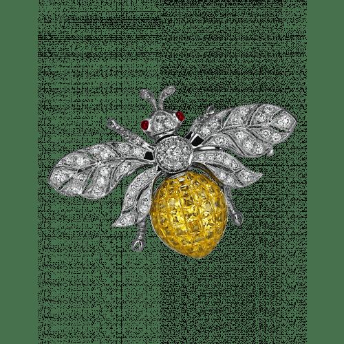 Yellow Sapphire Bee Brooch