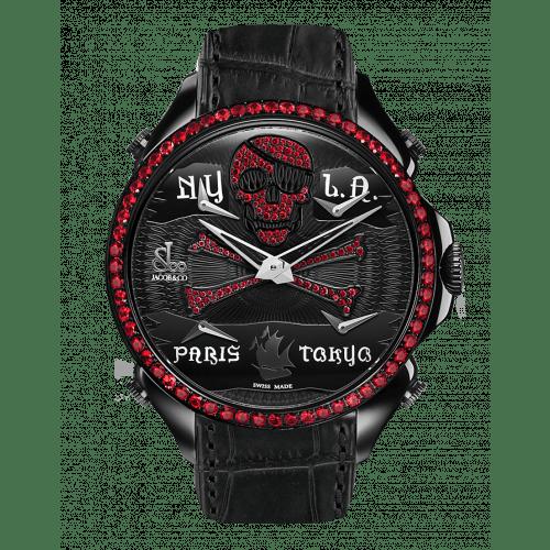 Palatial Five Time Zone Pirate Black PVD Ruby Set Dial & Bezel