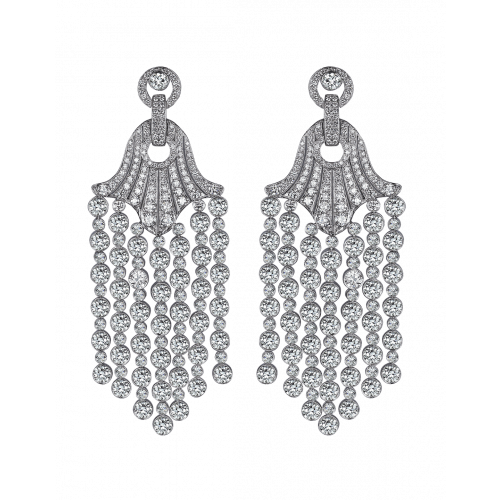 Rare Touch White Gold Chandelier Earrings