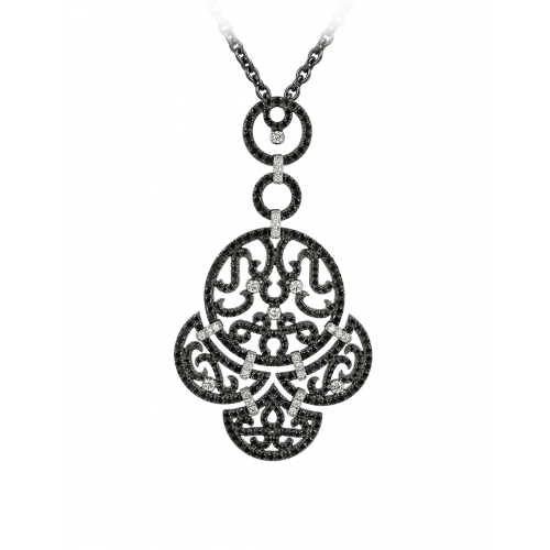 Lace Black Plated Diamond Lace Pendant