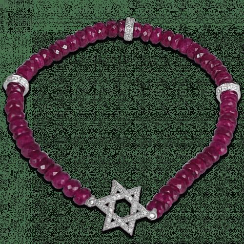 Diamond and Ruby Beads Star of David Bracelet