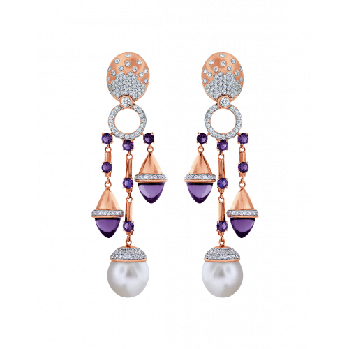 La Pearlina Pearl and Amethyst Earrings