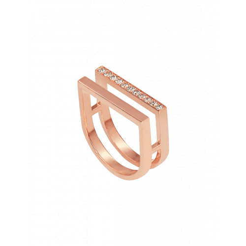 Nima's Classic Ring Rose Gold Half Pave