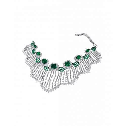 Emerald and Rose Cut Diamond Choker