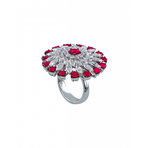 Rubies and Round Cut Diamonds Ring