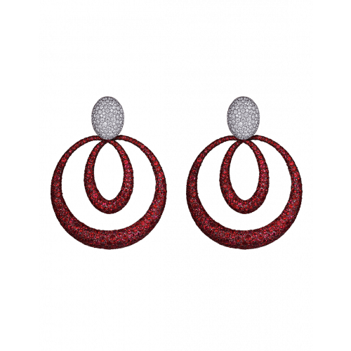 Titanium Glam Ruby Earrings