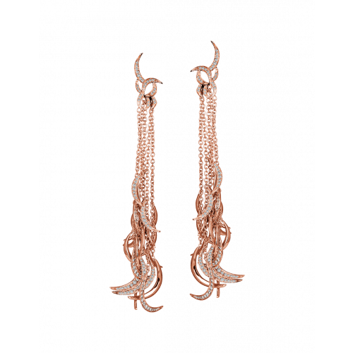 Jacob's Plume Rose Gold Earrings 486 Cut Diamonds