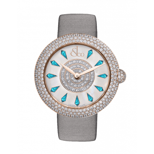 Brilliant Half Pave Rose Gold Icy Blue Sapphires 38mm