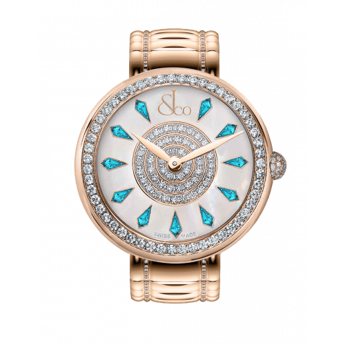 Brilliant One Row Rose Gold Couture Icy Blue Sapphires 38mm
