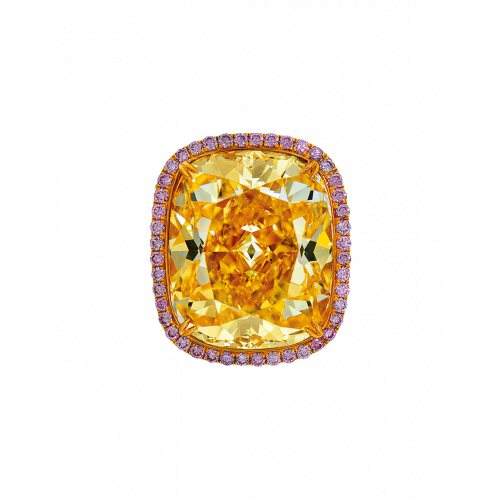 Fancy Intense Yellow Cushion Cut Diamond Ring