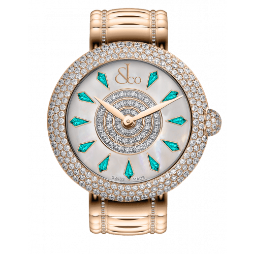 Brilliant Half Pave Rose Gold Couture Icy Blue Sapphires 44mm