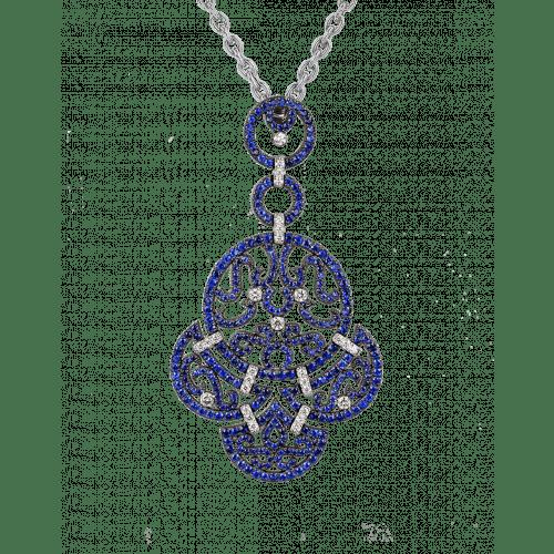 Lace White Gold Sapphire Lace Pendant